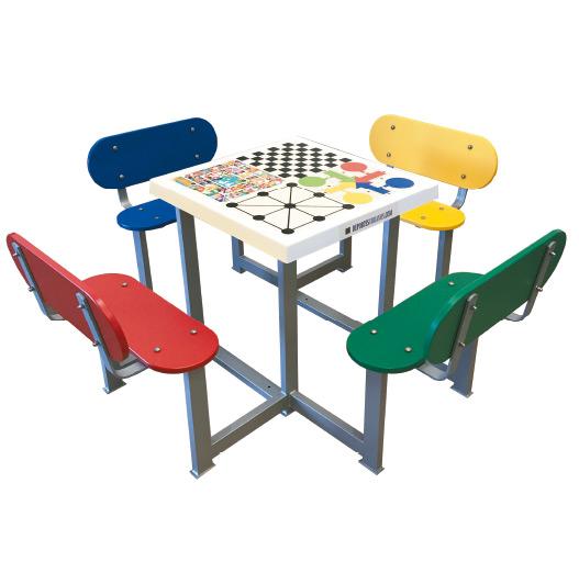 Juego de mesa cuatro asientos para parques infantiles