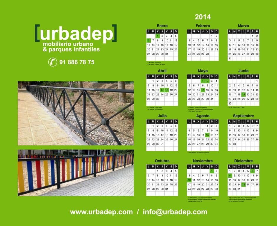 Alfombrilla – Calendario de obsequio con imágenes de nuestras obras tanto de mobiliario urbano como de parques infantiles
