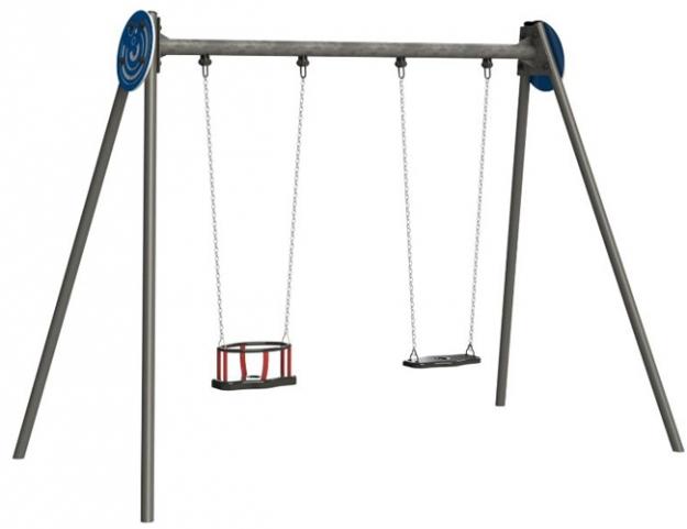 Columpios Doble  Mixto Acero Polietileno Parques infantiles