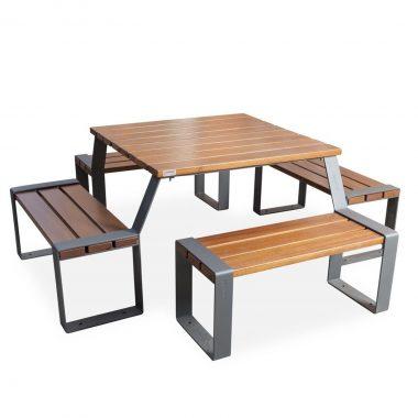 Mobiliario urbano mesas Novelti 4 asientos